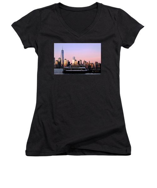 Nyc Skyline With Boat At Pier Women's V-Neck T-Shirt (Junior Cut)