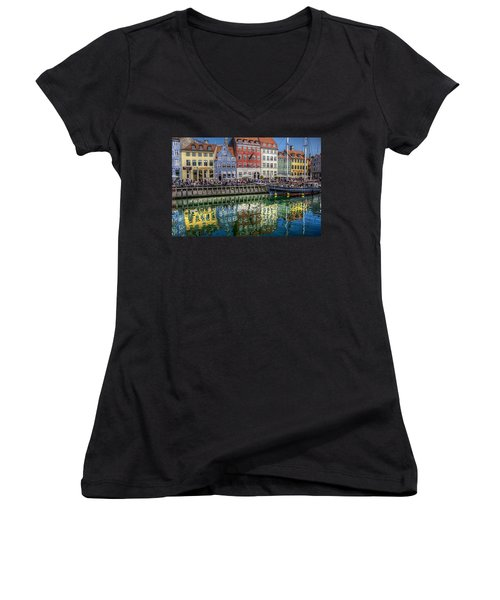 Nyhavn Harbor Area, Copenhagen Women's V-Neck T-Shirt (Junior Cut) by Karen McKenzie McAdoo