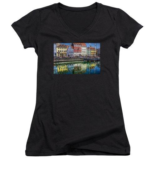 Nyhavn Harbor Area, Copenhagen Women's V-Neck T-Shirt