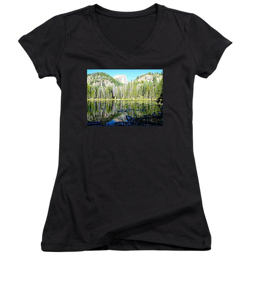 Nymph Lake And Flattop Mountain Women's V-Neck T-Shirt (Junior Cut) by Joseph Hendrix