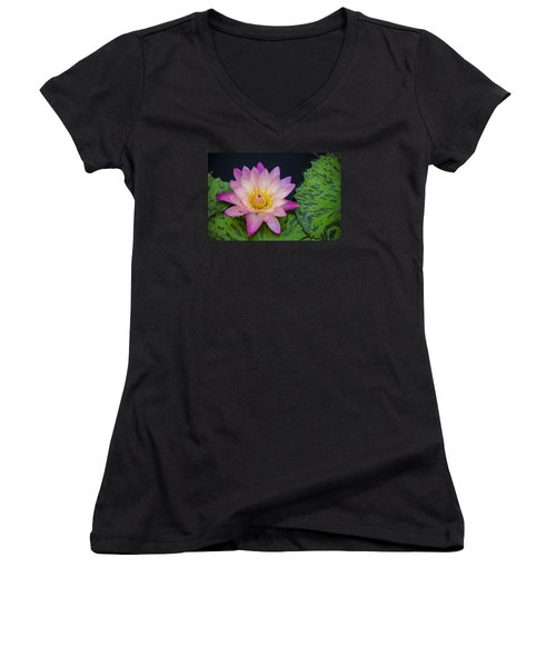 Nymphaea Hot Pink Water Lily Women's V-Neck T-Shirt (Junior Cut) by Deborah Smolinske