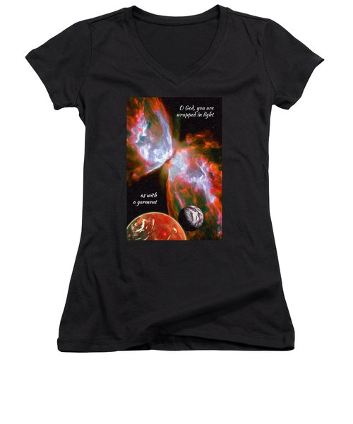 O God, You Are Wrapped In Light Women's V-Neck (Athletic Fit)