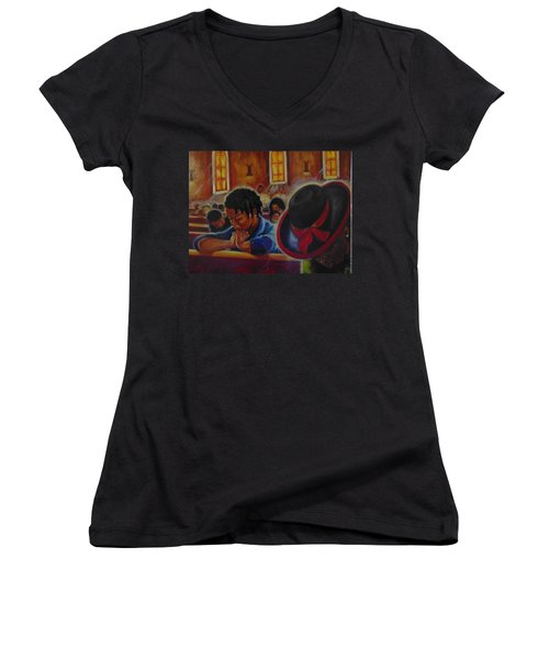 Women's V-Neck T-Shirt (Junior Cut) featuring the painting O My God by Emery Franklin