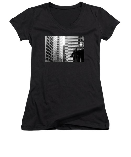 Women's V-Neck T-Shirt (Junior Cut) featuring the photograph Observing The City by Valentino Visentini