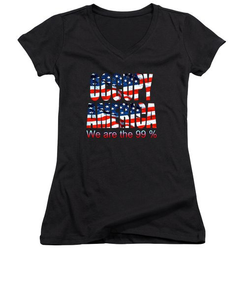 Occupy America 99 Percent - Tshirt Design Women's V-Neck T-Shirt (Junior Cut) by Art America Gallery Peter Potter