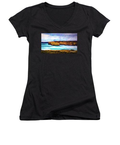 Women's V-Neck T-Shirt (Junior Cut) featuring the photograph Ocean Cliffs by Perry Webster