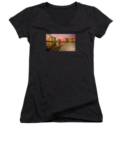 Ocean Creek Women's V-Neck T-Shirt (Junior Cut) by David Smith