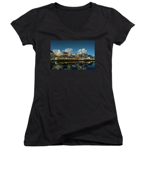 Ocean Grove Nj Women's V-Neck T-Shirt (Junior Cut) by Paul Seymour