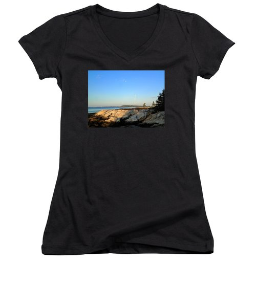 Women's V-Neck T-Shirt (Junior Cut) featuring the photograph Ocean Point by Lois Lepisto