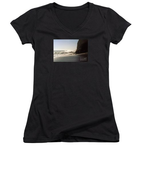 Ocean Rock Beach Headlands Women's V-Neck T-Shirt