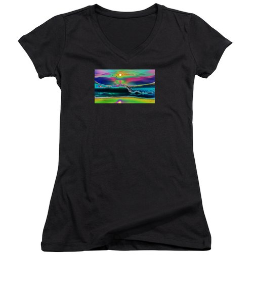 Ocean Sunset Abstract Women's V-Neck (Athletic Fit)