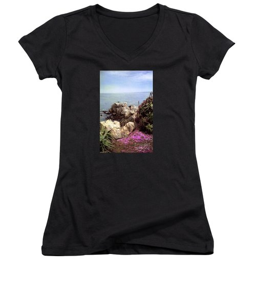 Ocean View Rock And Flowers Women's V-Neck