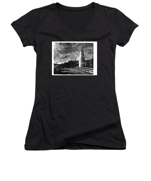 Women's V-Neck T-Shirt (Junior Cut) featuring the painting Ocracoke Island Lighthouse II by Ryan Fox