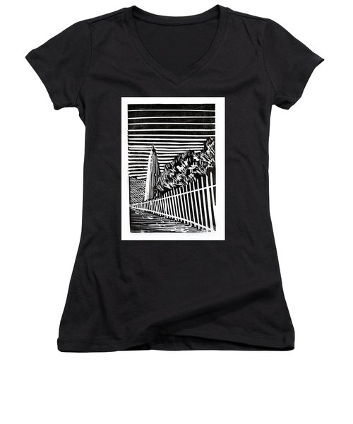 Women's V-Neck T-Shirt (Junior Cut) featuring the painting Ocracoke Island Lighthouse by Ryan Fox