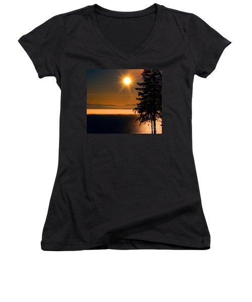 October Fog Women's V-Neck T-Shirt (Junior Cut) by Elaine Hunter