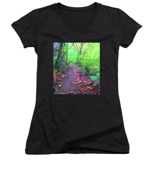 October Forest Pathway Women's V-Neck T-Shirt