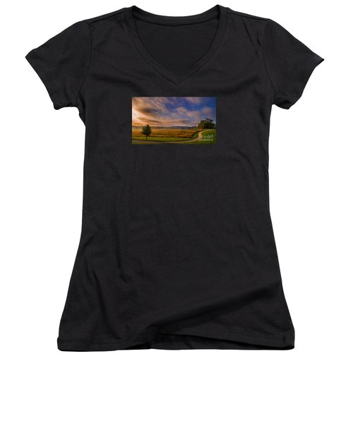 October Morning At Valley Forge Women's V-Neck T-Shirt (Junior Cut) by Rima Biswas