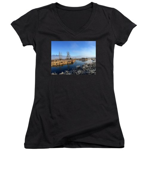 Women's V-Neck T-Shirt (Junior Cut) featuring the photograph October Morning by Victor K