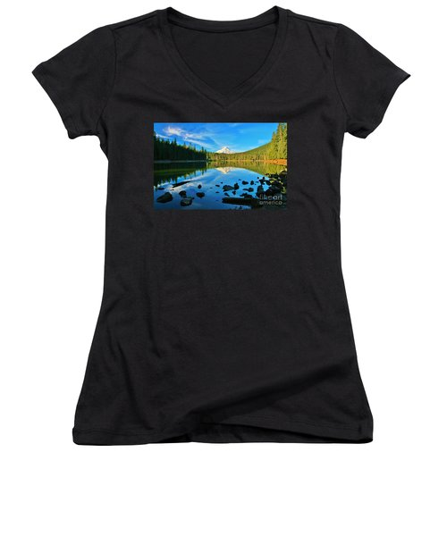 October On The Lake Women's V-Neck T-Shirt (Junior Cut) by Sheila Ping