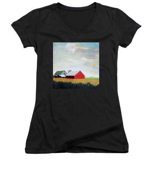 Ohio Farmland- Red Barn Women's V-Neck