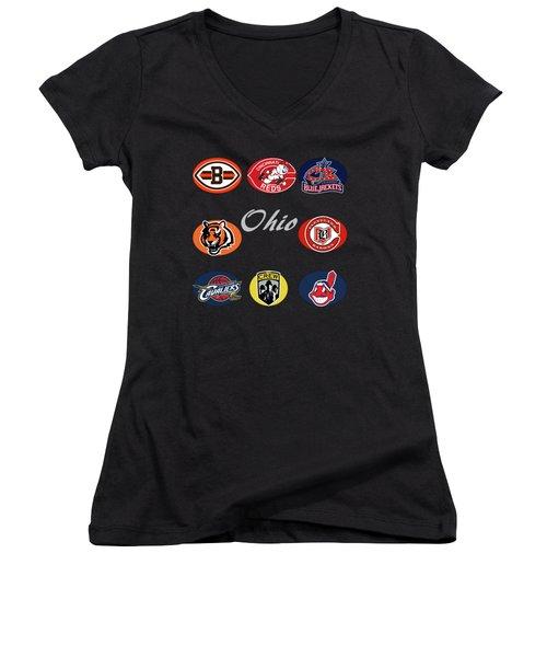 Ohio Professional Sport Teams Collage Women's V-Neck
