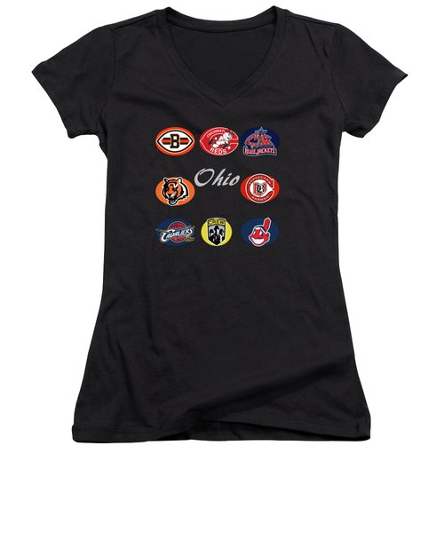 Ohio Professional Sport Teams Collage Women's V-Neck (Athletic Fit)