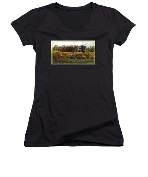 Women's V-Neck T-Shirt (Junior Cut) featuring the photograph Ohio Winery In Autumn by Joan  Minchak