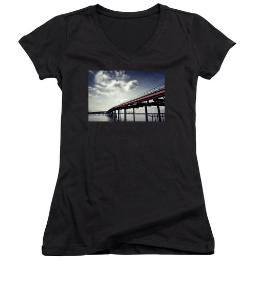 Oil Bridge Women's V-Neck T-Shirt (Junior Cut) by Joseph Westrupp