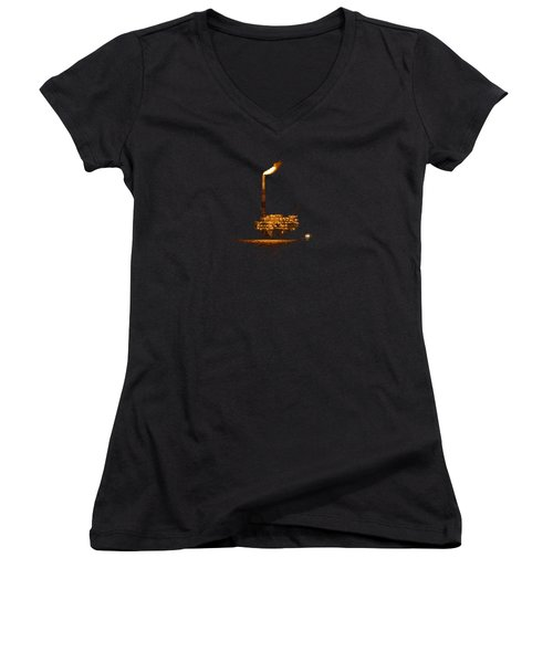 Women's V-Neck T-Shirt (Junior Cut) featuring the photograph Oil Rig At Night by Bradford Martin