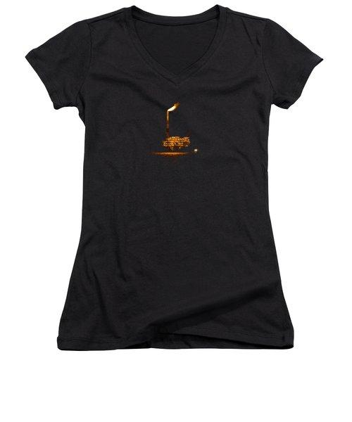 Oil Rig At Night Women's V-Neck T-Shirt (Junior Cut) by Bradford Martin