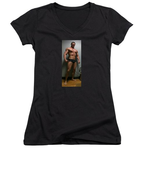 Oiled Up Women's V-Neck T-Shirt (Junior Cut) by Jake Hartz