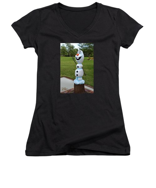 Women's V-Neck T-Shirt (Junior Cut) featuring the sculpture Olaf Wood Carving by Doug Kreuger