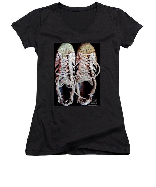 Women's V-Neck T-Shirt (Junior Cut) featuring the photograph Old Adidas Supestar II by Don Pedro De Gracia