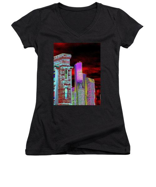 Old And New Seattle Women's V-Neck T-Shirt
