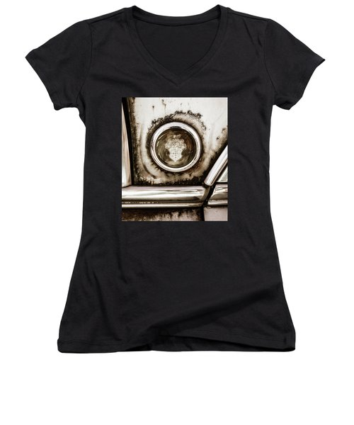 Women's V-Neck T-Shirt (Junior Cut) featuring the photograph Old And Worn Packard Emblem by Marilyn Hunt