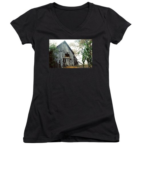 Old Barn In The Morning Mist Women's V-Neck