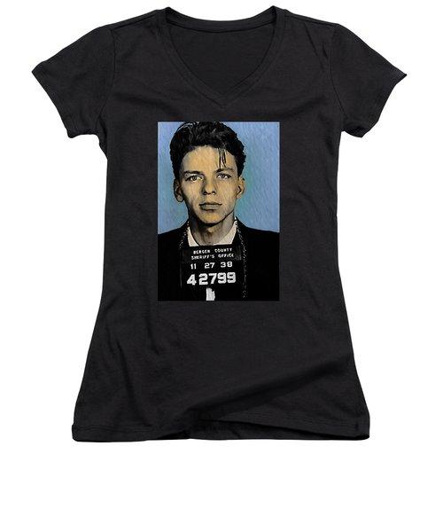 Old Blue Eyes - Frank Sinatra Women's V-Neck T-Shirt (Junior Cut) by Bill Cannon