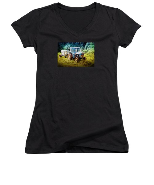 Old Blue Ford Tractor Women's V-Neck T-Shirt (Junior Cut) by John Williams
