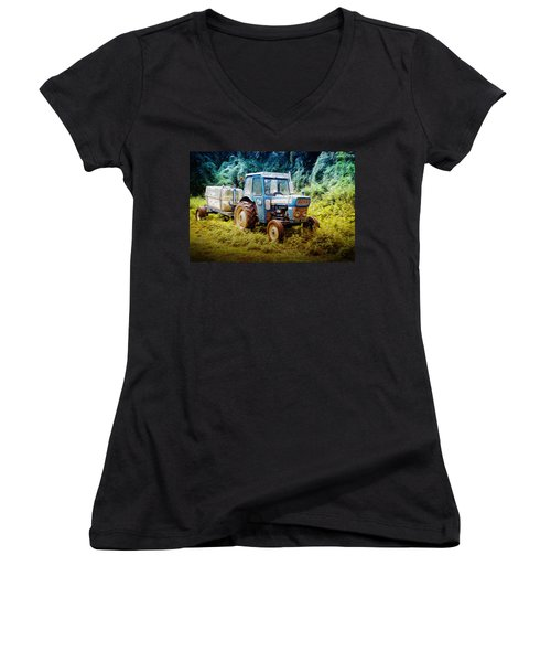 Old Blue Ford Tractor Women's V-Neck