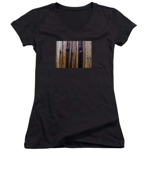 Old Door With Bolts And Nails Women's V-Neck T-Shirt