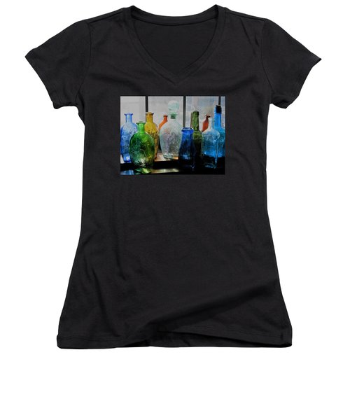 Women's V-Neck T-Shirt (Junior Cut) featuring the photograph Old Bottles by John Scates