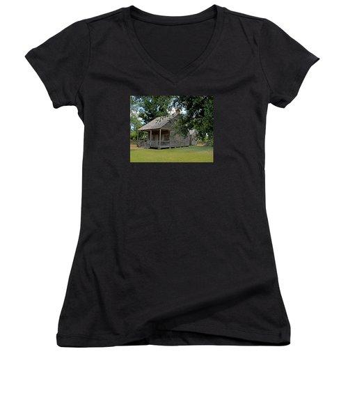 Old Cajun Home Women's V-Neck T-Shirt (Junior Cut) by Judy Vincent