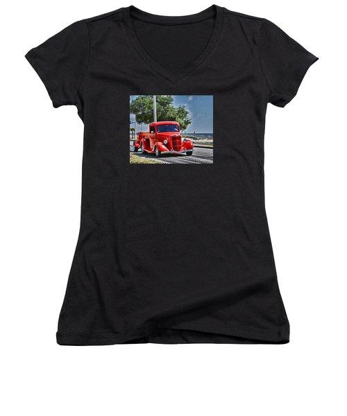 Old Car 2 Women's V-Neck T-Shirt (Junior Cut) by Cathy Jourdan