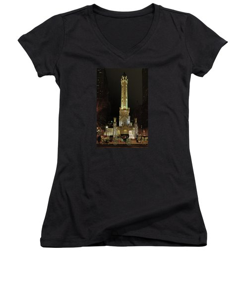 Old Chicago Water Tower Women's V-Neck T-Shirt (Junior Cut) by Alan Toepfer