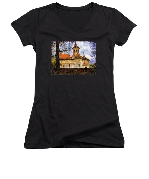 Old Church With Red Roof Women's V-Neck (Athletic Fit)