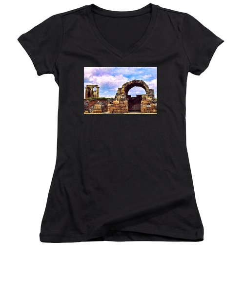 Women's V-Neck T-Shirt (Junior Cut) featuring the photograph Old Corinth Shop by Trey Foerster