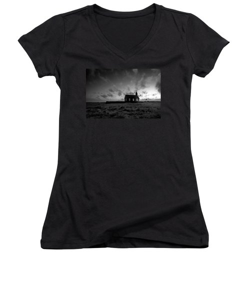 Old Countryside Church In Iceland Women's V-Neck T-Shirt