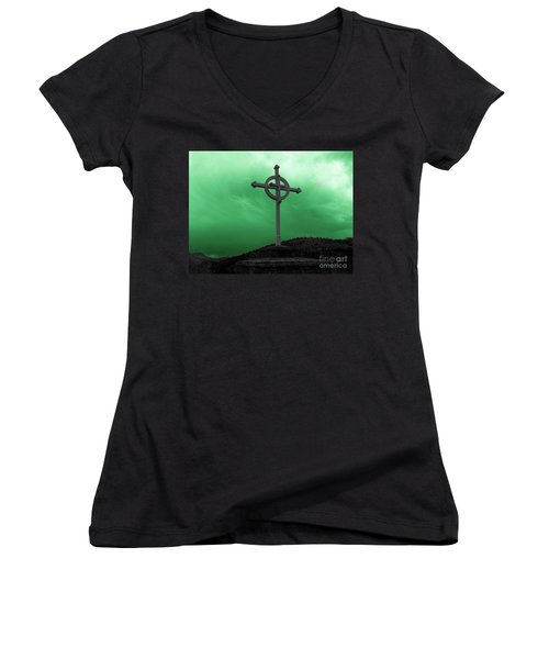 Old Cross - Green Sky Women's V-Neck