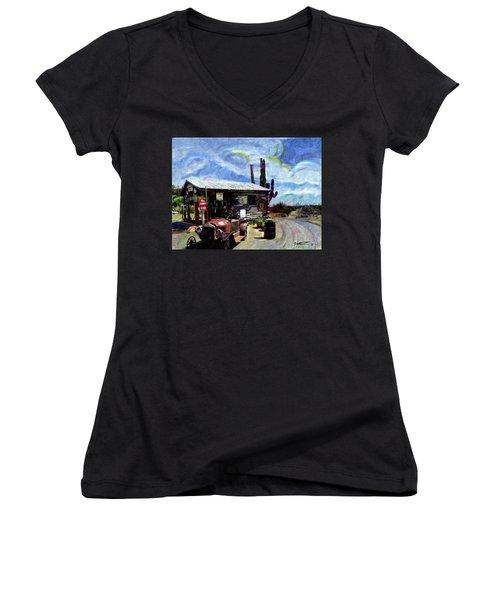Old Desert Gas Station Women's V-Neck T-Shirt