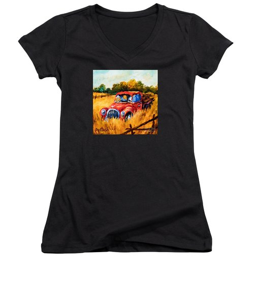 Women's V-Neck T-Shirt (Junior Cut) featuring the painting Old Friend by Igor Postash